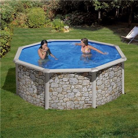 Poolset i stenimitation clear pool rund pooler for Pool rund 3 60