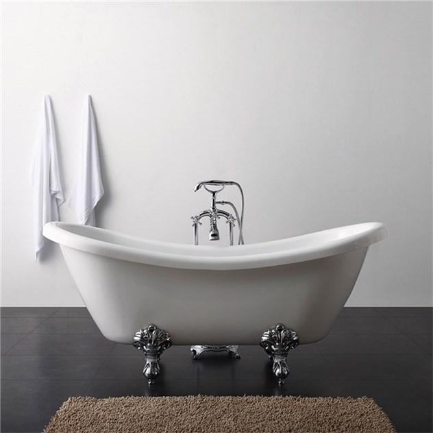 fristående badkar med inbyggd blandare